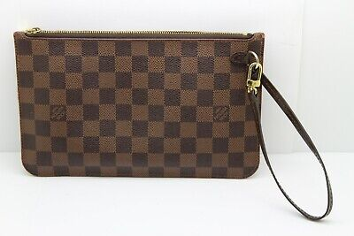 Authentic Louis Vuitton Damier Azur Neverfull MM Clutch Wristlet Pochette