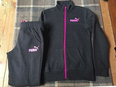 Puma Tracksuit Age 13-14 Grey Pink Hardly Worn Excellent