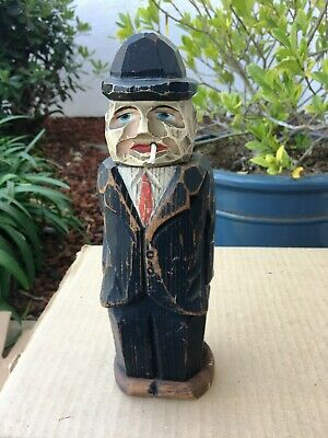 Vintage ANRI Style Hand Carved Wood Man Cloth Brush Holder Gangster Business Man