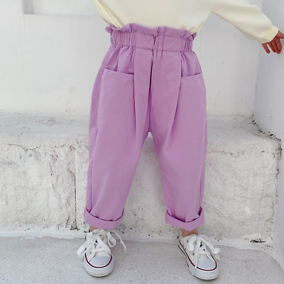 Kids Summer Pants Girls Cotton High Elastic Waist Front Pockets Full Trousers
