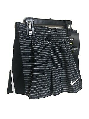 NIKE Youth Girls Black White Striped Athletic Running Shorts Size Small, 8