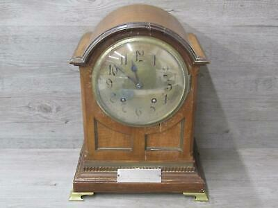 Vintage Unbranded 1900's Wooden Mantle Clock For Parts or Repair