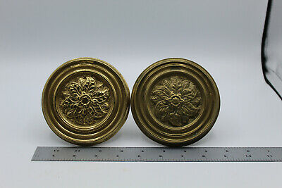Vintage VTG Brass Curtain Tie Backs Solid Floral Federal ?
