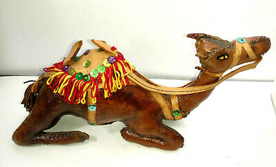 Vintage Leather Wrapped Camel Figure Figurine Animal Art --9  Long x 5 Tall