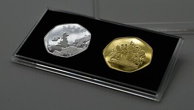 Pair of BREXIT Silver & 24ct Gold Commemoratives in 50p Coin Display Case. UK