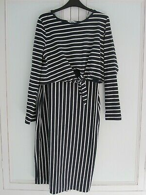 Blooming Marvellous Maternity/Nursing Navy Stripes Dress Mothercare Size 16 New