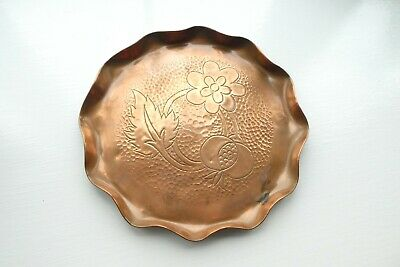 Vintage Hammered Copper Tray with Pie Crust Edge Arts & Crafts