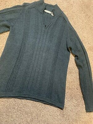 Mens DKNY Sweater Charcoal Gray SMALL 1/4 Zip Cotton Long Sleeve Pull Over