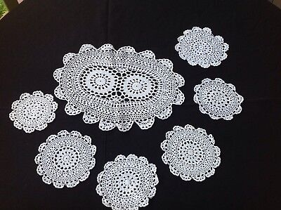 Hand Crocheted Doileys - 1 Larger And 5 Smaller Doilies - White And Delicate