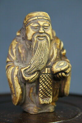 Handicraft Unique Alabaster Carved Old Man Stroked Beard Lucky Auspicious Statue
