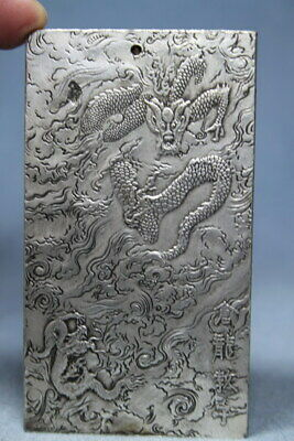 Handmade Decor Precious Miao Silver Carved Black Dragon Godchild Lucky Pendant