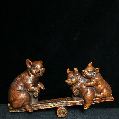 Exquisite Decorative Boxwood Carved Piggy Plays Seesaw Amusing Ancient Statue