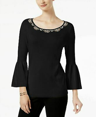 Charter Club Womens Petite Embellished Sweater Knit Top Jeweled Black PL