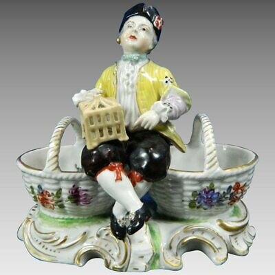 An Antique Sevres Porcelain Figurine Statue Salt Cellar Set France