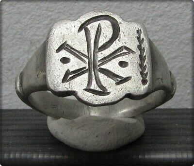 ** CHI-RHO **Ancient Legionary Silver Roman Cristianity Ring **AMAZING **