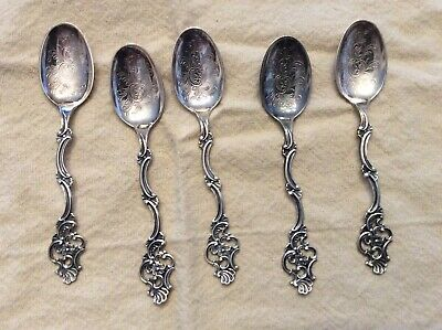 Norway Norwegian TH MARTHINSEN Sterling Silver Demitasse set of 5 spoons #356