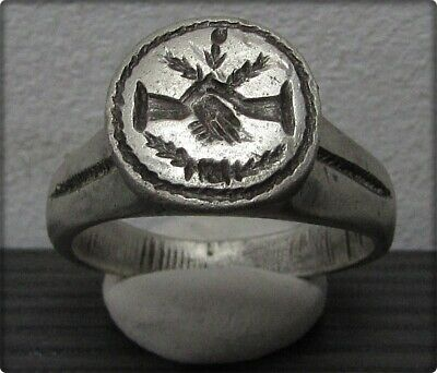 ** DEXTRARUM IUNCTIO **Ancient Silver Wedding Roman Ring **CLASPED HANDS **