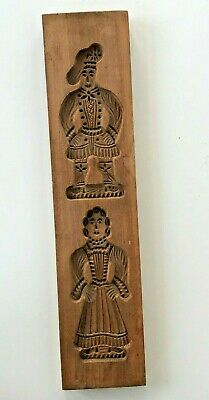 "Vintage 18"" Hand Carved Wood Cookie Press Mold Man Woman Speculaas Gingerbread"