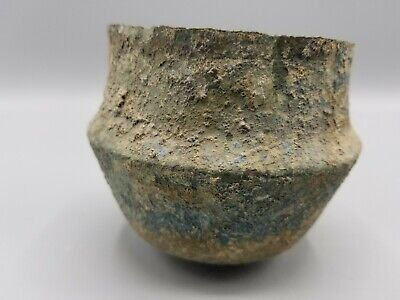 Ancient Roman Or Greek Bronze Cup Mug Wine Glass Vessel 2.5 Inches Tall