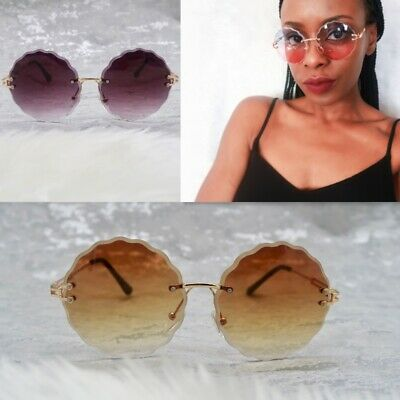Womens flower rimless gold frame round retro ombre brown tint lens sunglasses