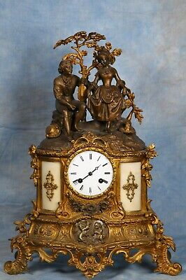 Antique French Gilded & Patina Bronze Clock Early 19th Century Great Condition