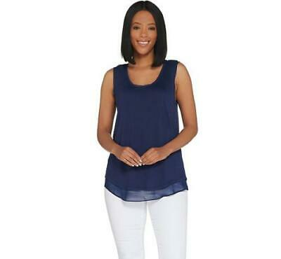 Lisa Rinna Collection Womens Knit Tank with Chiffon Trim Navy Color Sz XXS NWOT