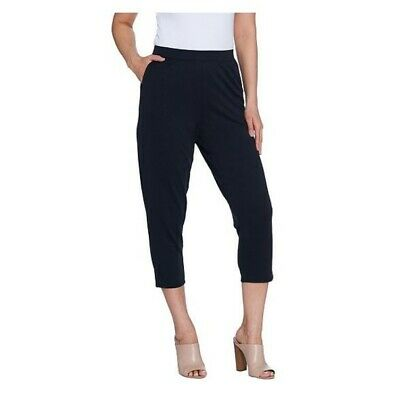 H by Halston Regular Brushed Modal Pull-On Pants Cropped Sz L Black A305401