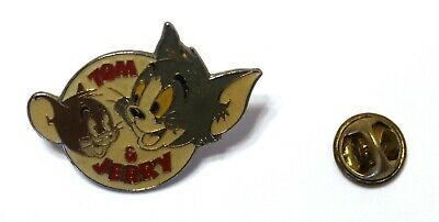 1990s Hanna Barbera TOM & JERRY logo lapel pin OVERSIZED 3.5 x 2.5 cm. approx.