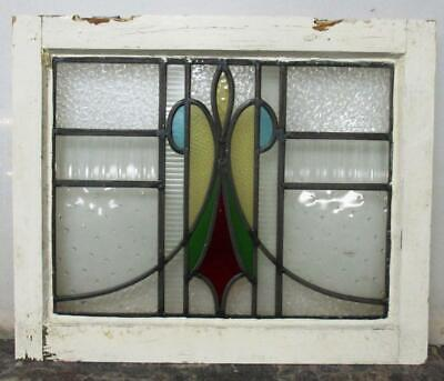 "OLD ENGLISH LEADED STAINED GLASS WINDOW Abstract Sweep Design 20.75"" x 17"""