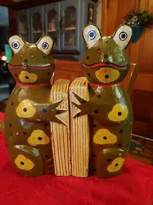 Vintage Papier Mache' ? Frog Bookends, Folk Art Design ~ CUTE!