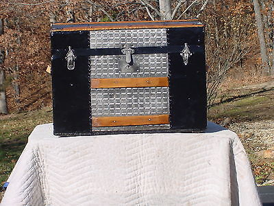 Antique Trunk  Embossed Tin Great Restoration Pat'd 1869  As Much As 151 Yrs Old