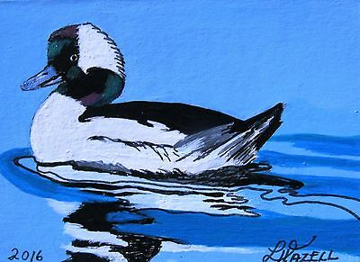 "A358    Original Acrylic  Aceo Painting By Ljh  ""Bufflehead""    Duck"