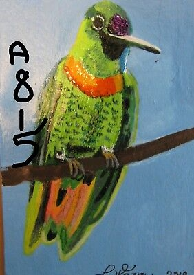 "A815      Original Acrylic Aceo Painting By Ljh  ""Gould's Jewelfront'' Bird"