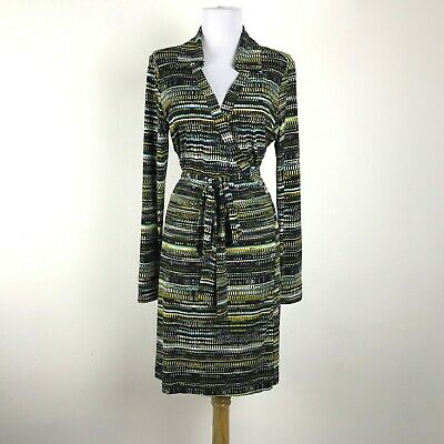 Calvin Klein Wrap Dress Womens Size 12 Multicolor Long Sleeve Polyester Stretch