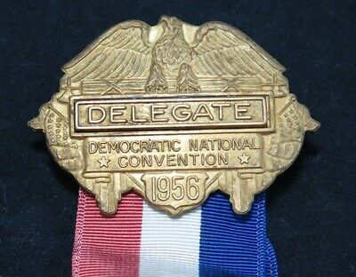 Vintage 1956 CHICAGO Democratic National Convention DELEGATE Badge Pin Ribbon