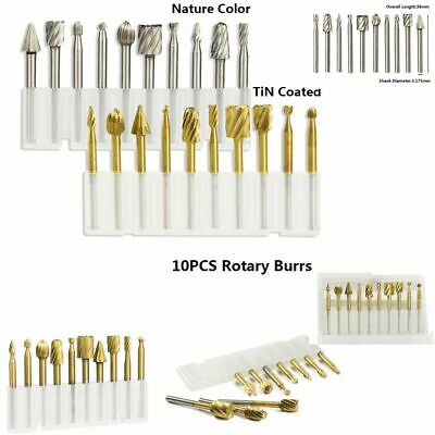 10pcs Hss Rotary Burrs Bits For Rotary Tools Suit Dremel Wood Engraving Works