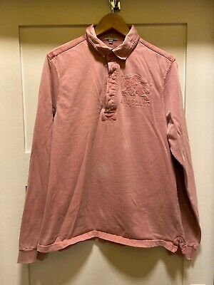 Men's Burberry Slim Fit Vintage Washed Red Long Sleeve Polo Shirt Large