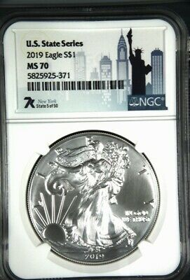 NGC MS-70 2019 Silver American Eagle New York
