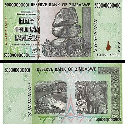 (Lot of 5 Notes) 50 TRILLION Uncirculated ZIMBABWE DOLLAR AA 2008 for Collectors