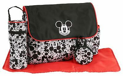 Diaper Bag + Bottle & Pacifier Tote Mickey Heads Black White Red NWT