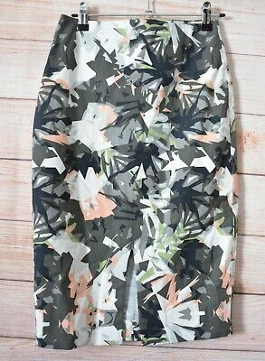 Oxford Skirt Size 6 Pencil Pink Grey Black White Green Floral Cotton