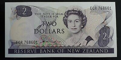 1981-85 New Zealand Reserve Bank $2 Banknote P 170a UNC