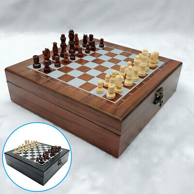 3 In 1 Folding Chess Wooden Set Board Game Checkers Backgammon Draughts Toy New
