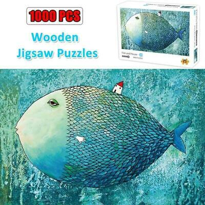 Jigsaw Puzzles for Adults Kids 1000 Pieces Fish and House Assembling Toy Puzzles