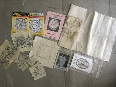 Embroidery Supplies transfers kit linen fabric Sewing Craft Pattern LOT