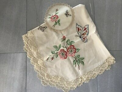 vintage butterfly hand embroidered table supper cloth plus 1 x doiliey
