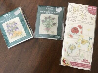 SEMCO Embroidery Minis Kits x 2 plus Edwardian Lady Kit  NEW IN PACK