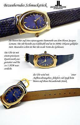 Jacques Lemans Watch Swiss Made 10 Micron Gold Plated Oval 20mm Blue JL670