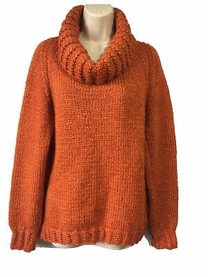 Unique Hand-Knitted Rusty Orange Jumper Sweater Pullover Warm Chunky Knit UK 10