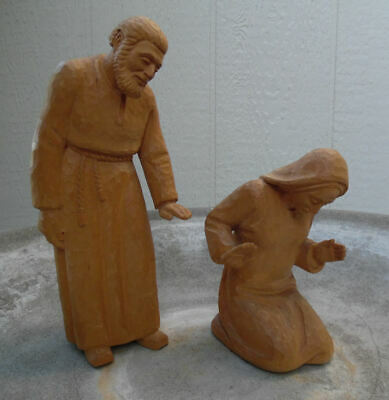 Vintage Hand Carved Wood Sculptures Of Joseph And Mary Wooden Figures